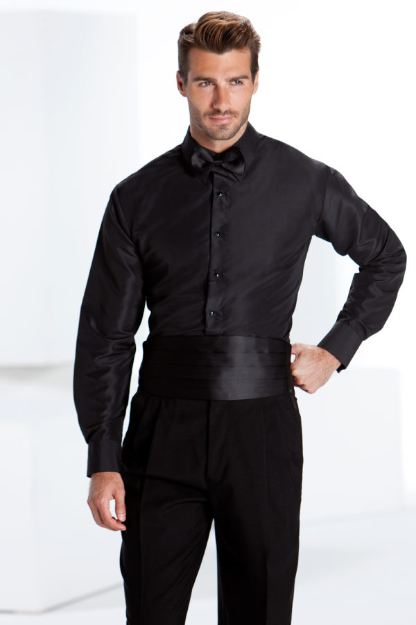 shirt-fitted-Black-plain-front-bow-(2)